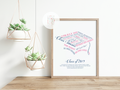 Personalised Graduation Word Art Print