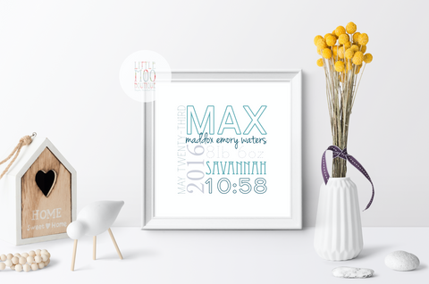 Personalised Square Baby Boy Name Print