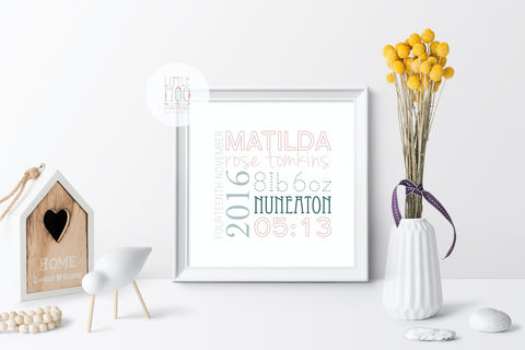 Personalised Square Baby Girl Name Print