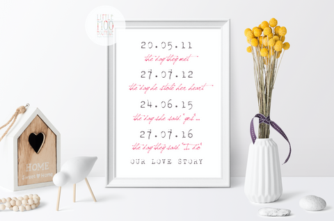 Personalised Our Love Story Print