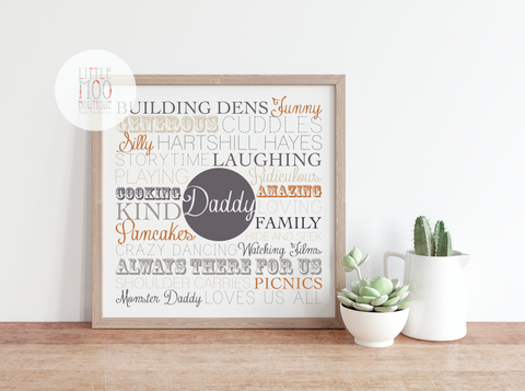 Personalised Square Dad Memories Print