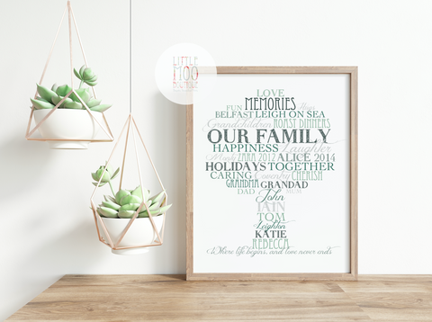 Personalised Tree Word Art Print