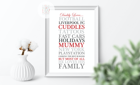 Personalised Dad Loves... Print