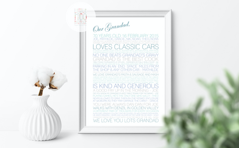 Personalised Dad Memory Print