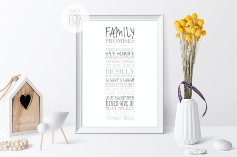 Personalised Family Promises Print
