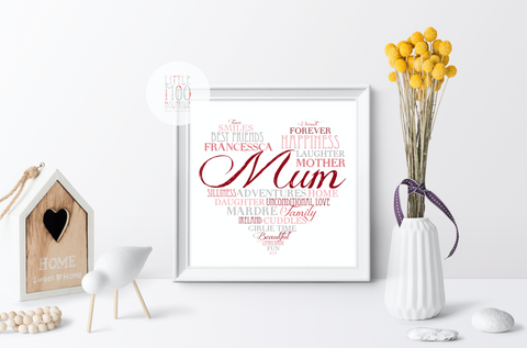 Personalised Family Love Heart Mum Print