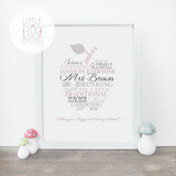 Personalised Best Teacher Word Art Print | Little Moo Boutique