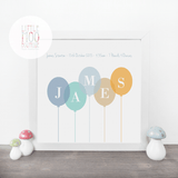 Personalised Boy Balloons Print-Little Moo Boutique