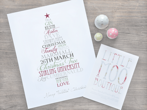 Personalised Christmas Tree Word Art Print-Little Moo Boutique