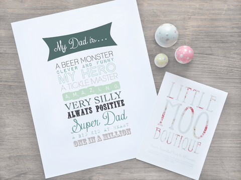 Personalised Dad is... Print-Little Moo Boutique
