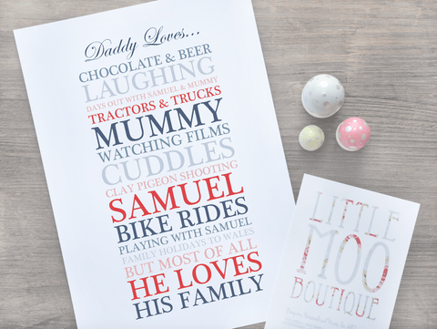 Personalised Dad Loves... Print-Little Moo Boutique