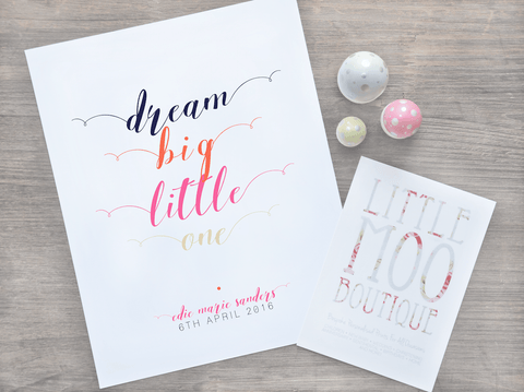 Personalised Dream Big Little One Print-Little Moo Boutique