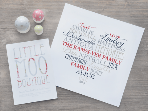 Personalised Family Love Heart Print-Little Moo Boutique