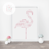 Personalised Flamingo Word Art Print-Little Moo Boutique