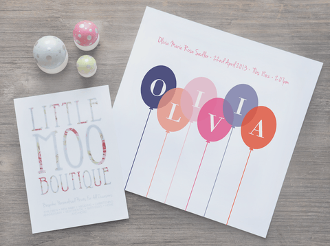 Personalised Girl Balloons Print-Little Moo Boutique