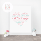 Personalised Love Heart Baby Print-Little Moo Boutique