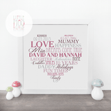 Personalised Love Heart Valentine Print-Little Moo Boutique