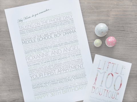 Personalised Memory Print-Little Moo Boutique
