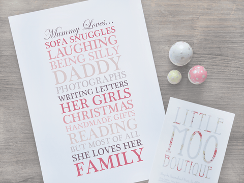 Personalised Mum Loves... Print-Little Moo Boutique