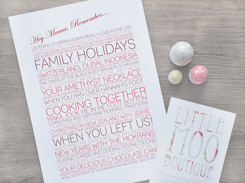 Personalised Mum Memory Print-Little Moo Boutique