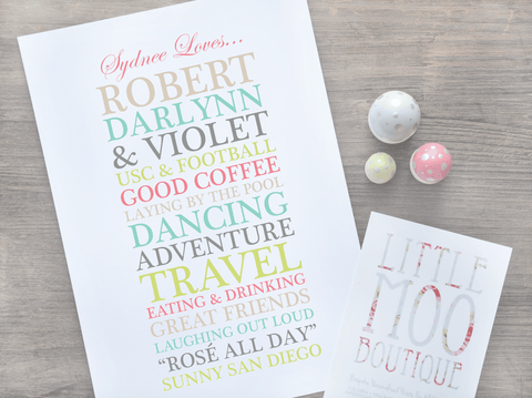 Personalised [Name] Loves... Print-Little Moo Boutique