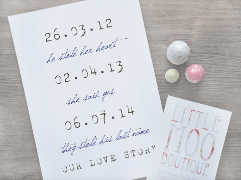 Personalised Our Love Story Print-Little Moo Boutique