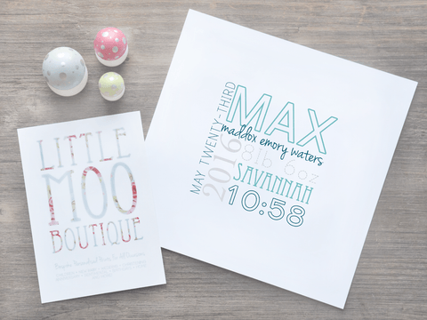 Personalised Square Baby Boy Name Print-Little Moo Boutique