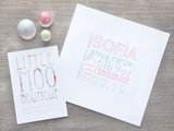 Personalised Square Baby Girl Name Print-Little Moo Boutique