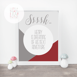 Personalised Sssh! Baby Boy Print-Little Moo Boutique