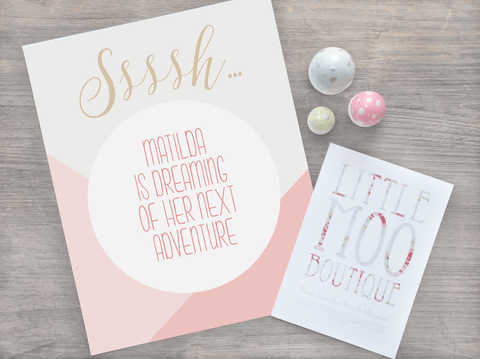 Personalised Sssh! Baby Girl Print-Little Moo Boutique