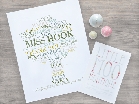 Personalised Teacher Tree Word Art Print-Little Moo Boutique