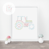Personalised Tractor Word Art Print-Little Moo Boutique