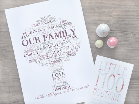 Personalised Tree Word Art Print-Little Moo Boutique