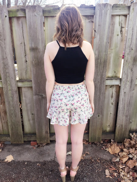 Floral Frenzy Shorts-Cream