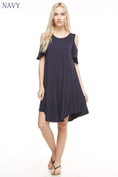 Navy Cold Shoulder Dress