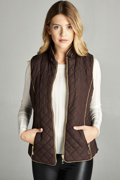 Faux Shearing Lined Vest-Brown