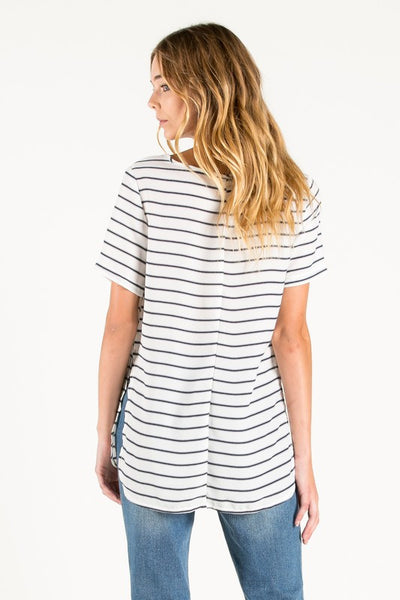 Classic Stripe Side Slit Top