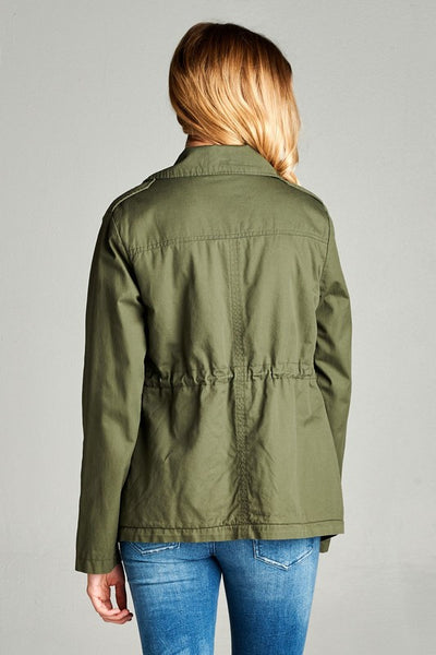 Faux Shearing Lined Jacket-Olive