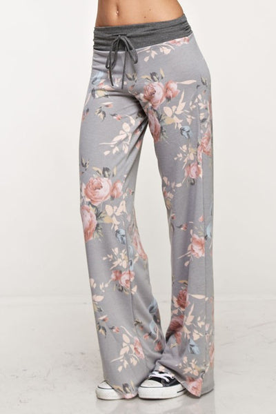 Grey Floral Lounge Pants