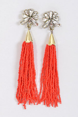 Beaded Tassel Earrings-Red