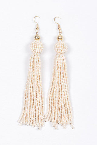 Beaded Tassel Earrings-Ivory
