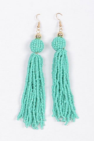Beaded Tassel Earrings-Turquoise