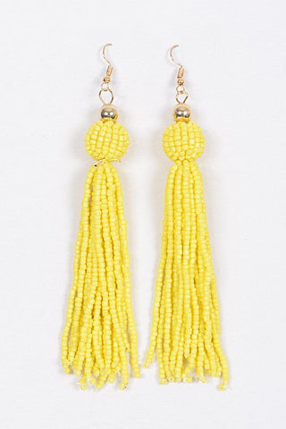 Beaded Tassel Earrings-Yellow
