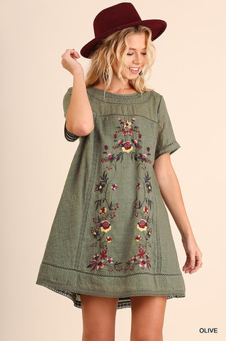 *Pre-Order* Olive Embroidered Dress
