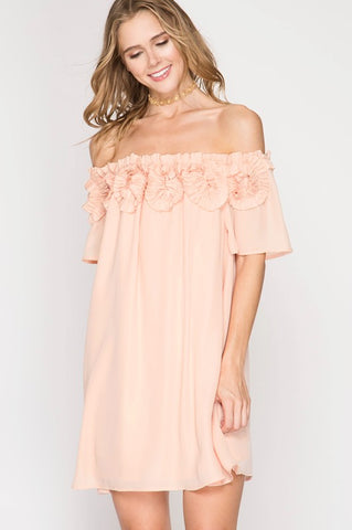 Peach Rosette OTS Dress