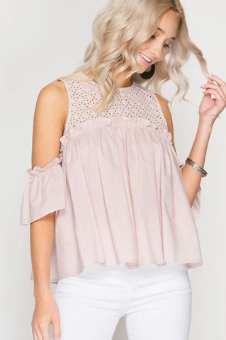 Light Pink Cold Shoulder Blouse