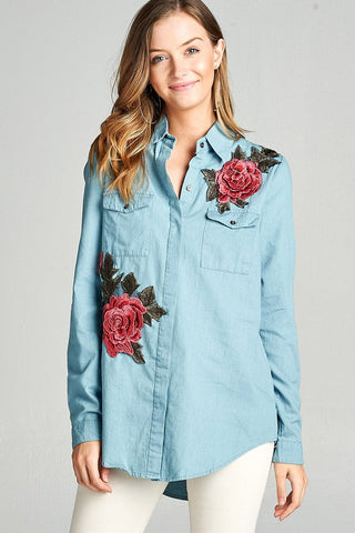 Rose Embroidered Chambray Popover Top