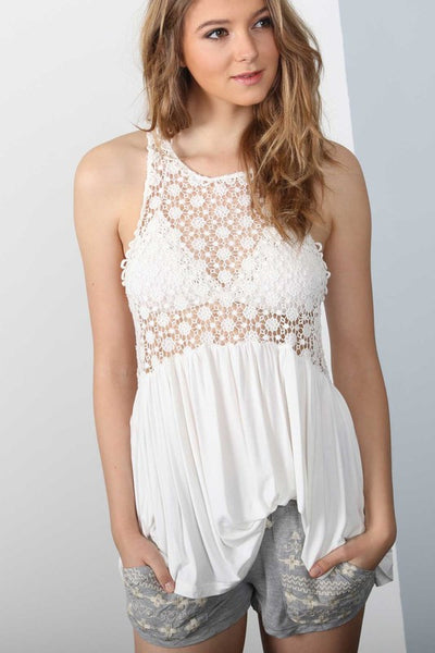 POL Crochet Front Tank Top-White