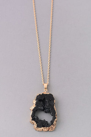 Black Druzy Gemstone Necklace