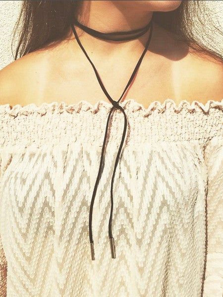 Long Bolo Choker Necklace-Olive